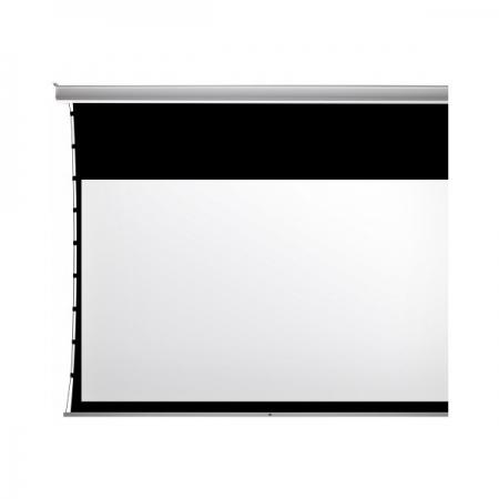 Kauber Inceiling XL Tensioned, ekran projekcyjny elektryczny do zabudowy sufitowej, z napinaczami , czarnym pasem i czarną ramką
