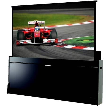 Suprema SERPENT 203×114 MG, ekran projekcyjny w skrzyni, ekran wyglądający jak mebel, ekran z możliwością przenoszenia